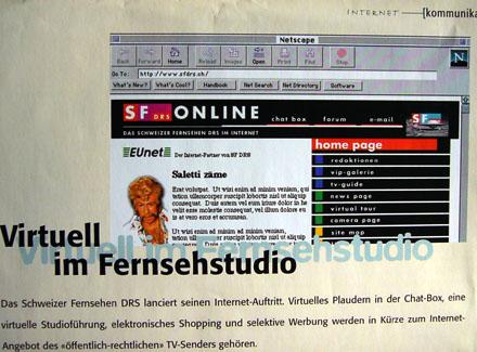 Die erste Website des Schweizer Fernsehens, Herbst 1996 - M+K 10/1996