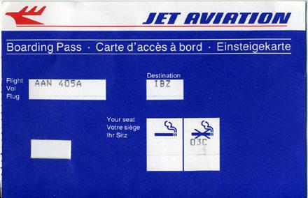 Boarding Pass, ZRH-IBZ mit AAN 405, 23. Juli 1988