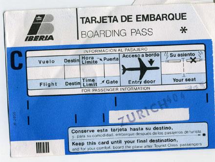 Boarding Pass, IBZ-ZRH mit AAN 404, August 1988