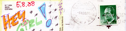 Postkarte aus Ibiza, gestempelt 8.8.88