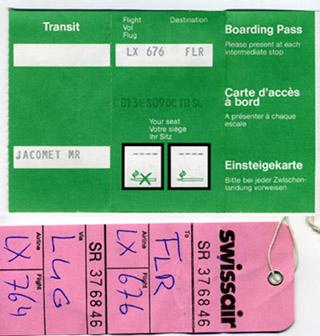 Ticket und Gepäckabschnitt von Basel via Lugano nach Florenz, Oktober 1988