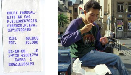 Ein Levis-Sweater für 60'000 Lire, Firenze, 21. Oktober 1988 / Rechts das Objekt im täglichen Einsatz, Bild aus Luxemburg, Mai 1989