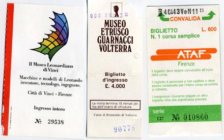 Tickets aus Florenz, Volterra und ein Busticket aus Florenz, Oktober 1988