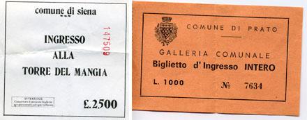 Eintrittstickets aus Siena und Prato, Herbst 1988