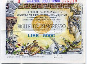 Ticket zu den Uffizien, Oktober 1988