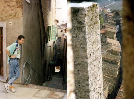 Der Schreibende in Buggiano (Toscana), Oktober 1988 / Aussicht von einem Turm in San Gimignano, Herbst 1988